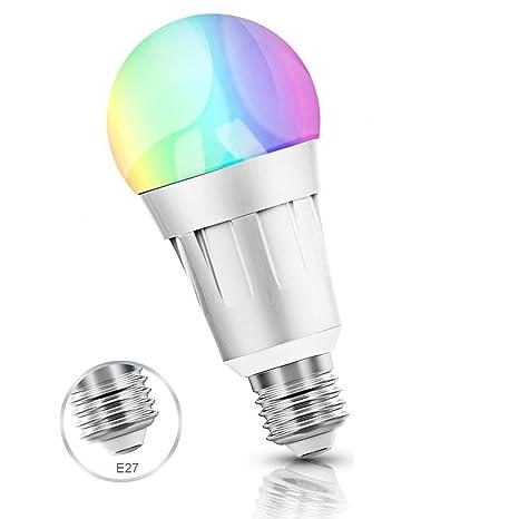 Smart Wifi bombilla, LED Smart Bulb RGB Colour Luz lámpara funciona con Amazon Alexa,