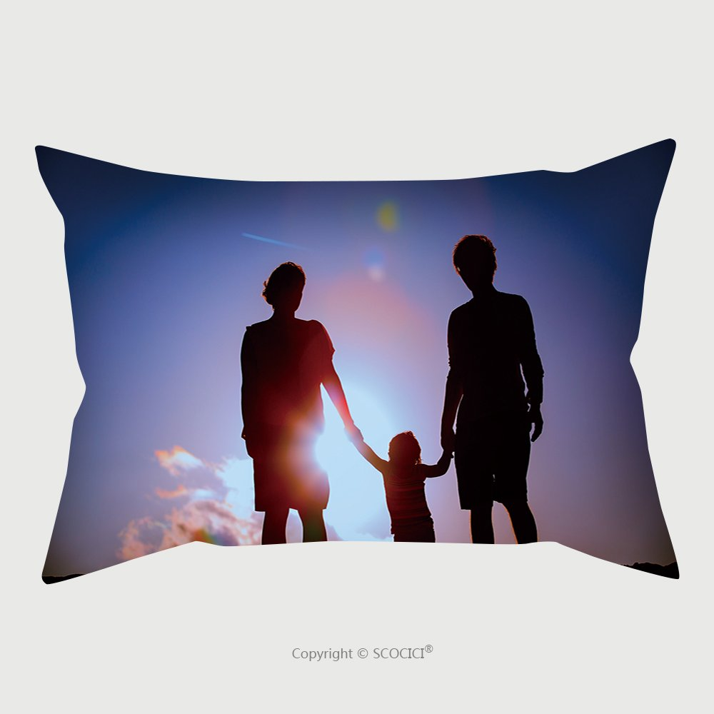Custom Satin Pillowcase Protector Happy Family With Child Walk Together At Sunset 501557809 Pillow Case Covers Decorative