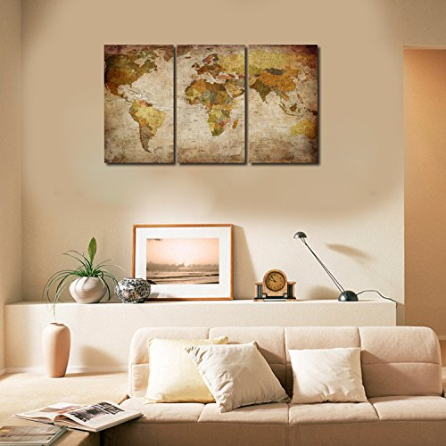 Ardemy canvas art prints retro abstract beige world map for Ready set decor reviews