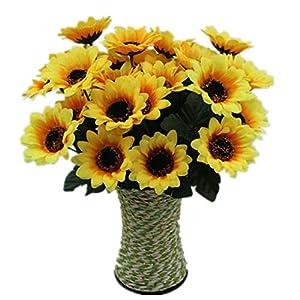 ❤️Jonerytime❤️Fake Sunflowers Silk Flowers Table Centerpieces Arrangements Home Indoor Yellow 19