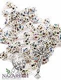 Católica rosario con perlas de Colorful Zircon cristales hecho a mano collar Milagrosa & Crucifijo Jerusalén