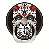 360°Rotation Grip Mobile Phone Finger Ring Holder for All Smartphone and Tablets with Car Mount Stand Colorful Sugar Skull