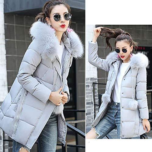 Inverno Grau Manica Saoye Tasche Vestiti Accogliente Cerniera Fashion Hooded Lunghi Ladies Laterali Jacket Con Cappotto Gi�� Capispalla Solidi Elegante Colori HXpHw6