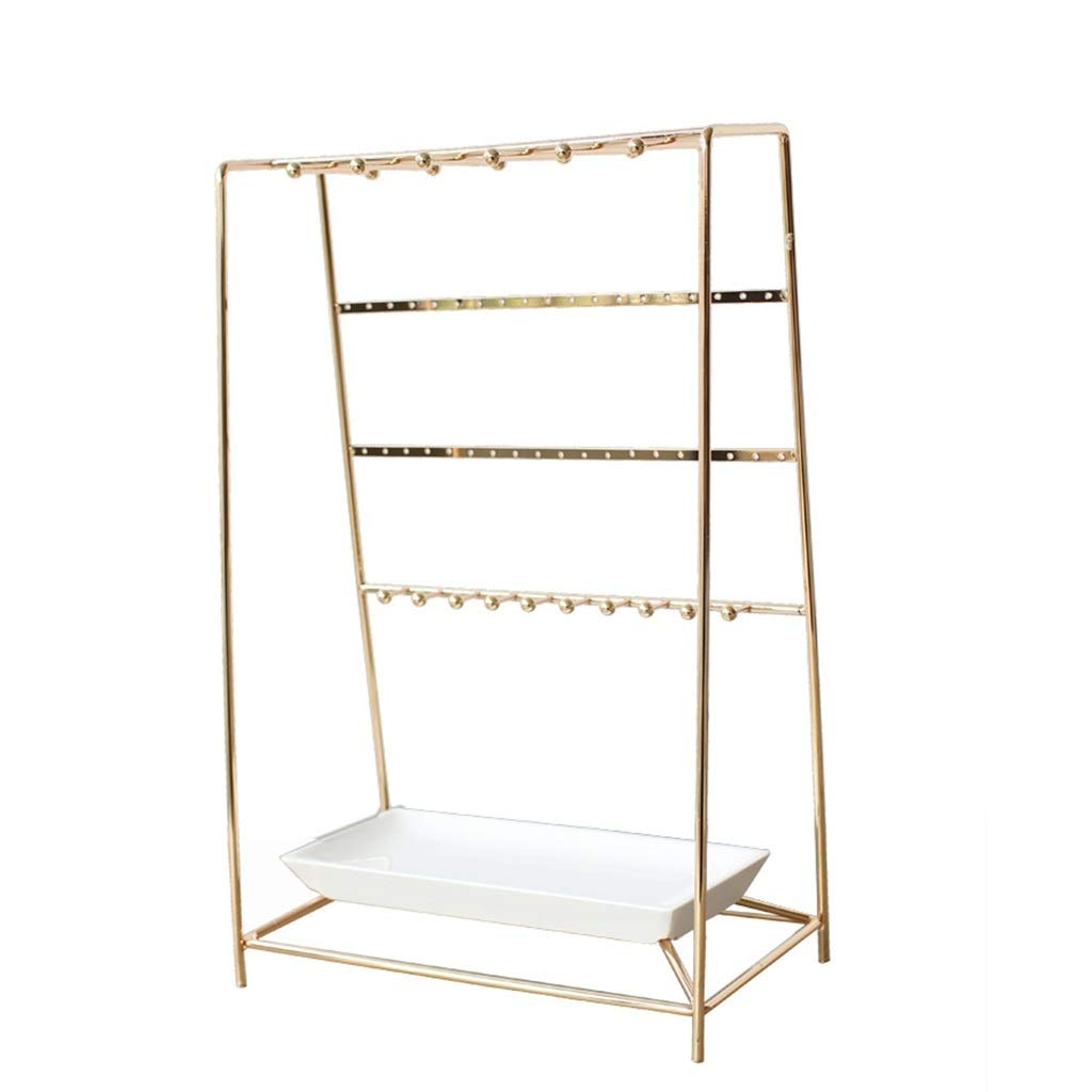 Jewelry rack Hanging Jewelry Organizers Jewelry Frame Jewelry Frame Ring Metal Paint Baking Tabletop Jewelry Display Rack Home Storage Pendant (Color : Gold, Size : 3925.515cm)