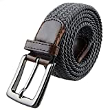 Shanxing Men's Belt Braided Elastic Fabric Webbing Belts for Men(Dark Grey)