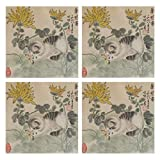 IDO Heat Resistant Placemats for Kitchen Table Mats for Dinning Room,Chinese Cat Art Washable Insulation Non Slip Placemat 12x12 inch Set of 4