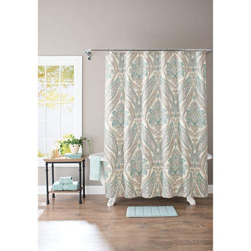 Better Homes and Gardens Damask Aqua Paisley 13-Piece Bath Set, Shower Curtain and Bath Rug Included