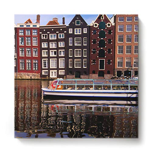 KAROLA 1 Panel Canvas Art Prints Wall Stretched and Framed Ready to Hang Pictures on Canvas for Bathroom Bedroom Bedroom Living Room Home Wall Decor Artwork,Amsterdam Canal Landscape 16