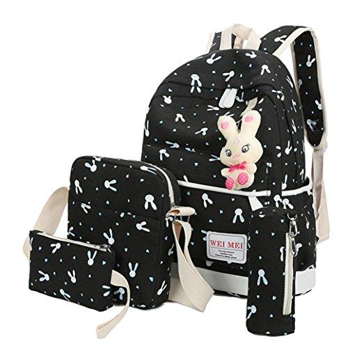 4 Sets Canvas Bag,Women Girl Rabbit Animals Travel Backpack School Bag+Crossbody Shoulder Bag+Handbag with Strip +Pencil Case (Black)