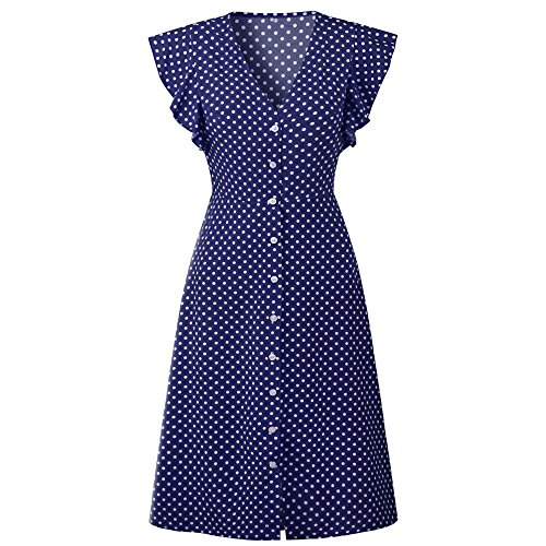 Pevor Women's Summer Casual Dress V Neck Polka Dots Ruffle Short Sleeve Swing Midi Dress Navy S from Pevor