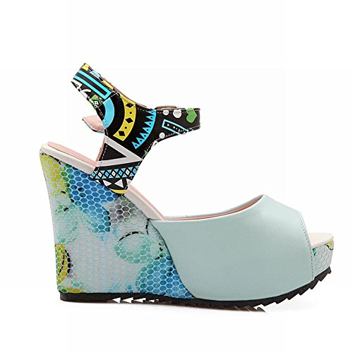 Peep Womens Blue Fashion Floral Print Elegance Sandals Wedges Buckle Carolbar Toe Platform Party CAqpwwR