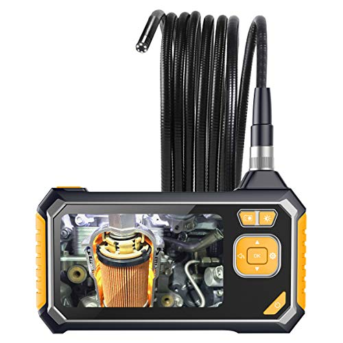 Industrial Endoscope,YINAMA 1.6-198inch Focal Distance Digital Semi-rigid Borescope 4.3inch LCD 2600mAh Rechargeable Battery 8G SD Card Snake Camera 1080P HD Video Waterproof Inspection ()