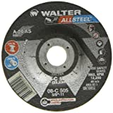 "Walter Allsteel Versatile Grinding Wheel, Type 27, Round Hole, Aluminum Oxide, 5"" Diameter, 1/4"" Thick, 7/8"" Arbor, Grit A-24-As (Pack of 25)"