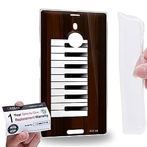 Case88 [Nokia Lumia 1520] Gel TPU Carcasa/Funda & Tarjeta de garantía - Art Drawing Grey Piano Art2200