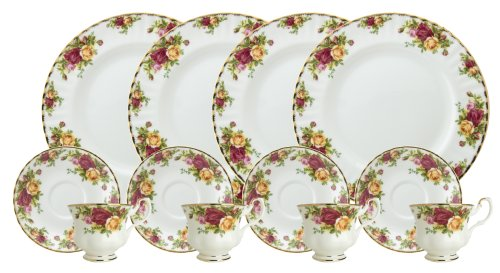 Royal Doulton-Royal Albert Old Country Roses 12-Piece Set, Service for 4 (Doulton Antiques Royal)