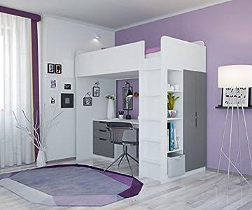 Etagenbetten Kinder Test : Polini kids kinder hochbett etagenbett mit kleiderschrank und