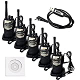 Retevis RT-6S Walkie Talkie 6W Single Band UHF 400-520MHz 16CH CTCSS/DCS Scan with Original Earpiece 2 Way Radio Ham Amateur Radio Transceiver (5 Pack) and Programming Cable