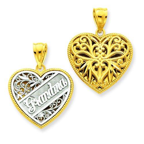 Reversible Grandma Heart Charm - 14K Two Tone Gold Reversible Grandma Heart Charm
