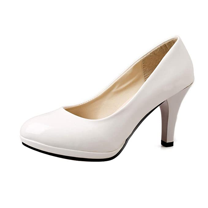 Zapatos De TacóN para Mujer,ZARLLE Moda Spring Casual Oficina De Punta Redonda Gruesa Boca