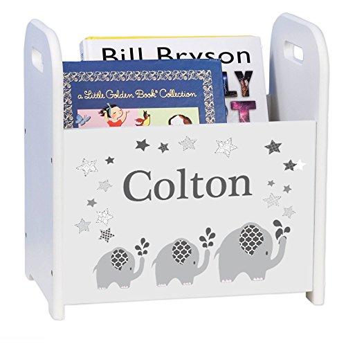 MyBambino Personalized Gray Elephant White Book Caddy and Rack