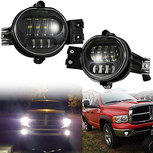 2019 New Version LED Fog Lights Passing Lamps For Dodge Ram 1500 2500 3500 Pickup Truck 2002 2003 2004 2005 2006 2007 2008 2009 Durango 2004-2006 Truck Black (Dodge Ram Fog Lights)