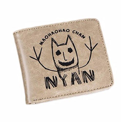 new Cuero Piel Cartera Multi-bolsillos Cartera hombre Purse Figura de palo Gato Nyan Maohha Chan rare
