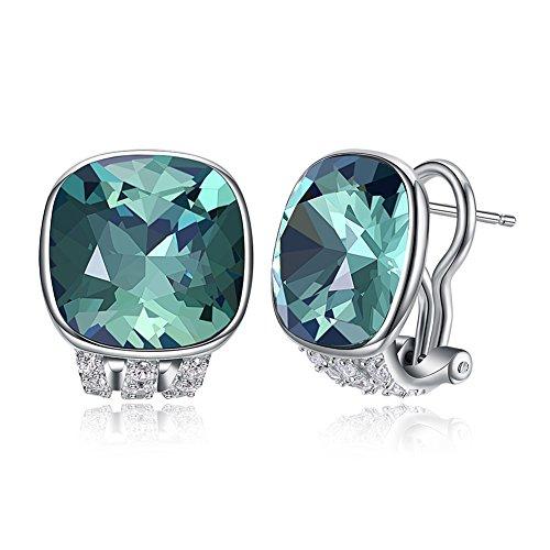 Vogzone Green Swarovski Crystal French Clip Earrings Piercing Silver CZ Stud Earrings for Women Wedding Jewelry