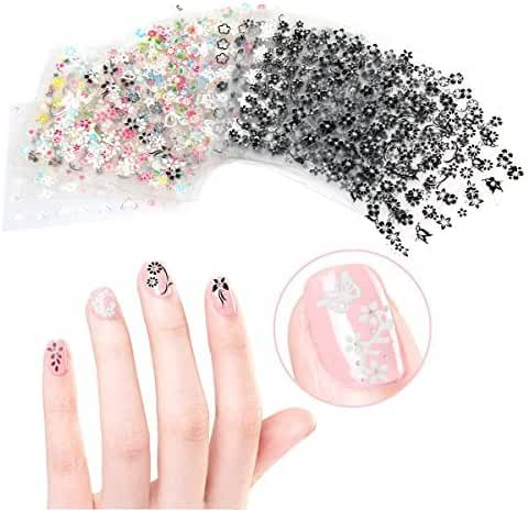 Tinksky 50 Sheets 3D Design Self-adhesive Tip Nail Art Stickers Decals(Random Color Pattern)