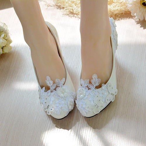 JINGXINSTORE Pearl Weiß Weiß Weiß Lace Schmetterling Hochzeit Braut Schuhe High Heels Plattform Partei df7851