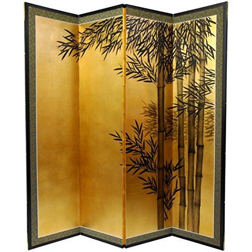 - Oriental Furniture 5 1/2 ft. Tall Gold Leaf Bamboo Room Divider