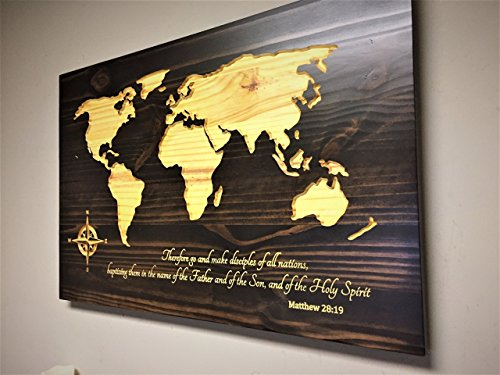 Wood wall art, Spiritual Home Decor, Religious wall art, wooden map, world map with quote, Matthew 28:19, Large World Map Art, Quote Sign, family name sign, vintage map