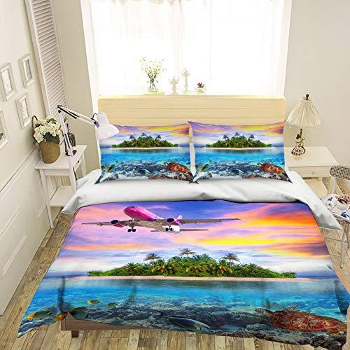 (AJ WALLPAPER 3D Aircraft Sea Landscape 851 Bedding Pillowcases Quilt Duvet Cover Set Single Queen King | 3D Photo Bedding, US Amy (Twin))
