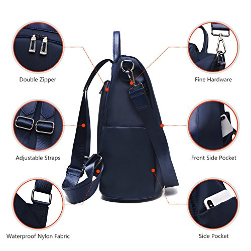 Shoulder Purse Navy Schoolbags Nylon Charmore Anti Backpack Rucksack Women Bags theft Waterproof qwqHfg