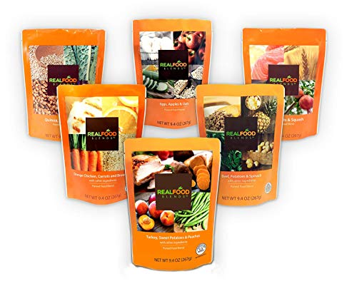 - Real Food Blends Variety Case Pureed Blended Meal, 9.4 oz Pouch (6 Flavors Per Case of 12 Pouches)