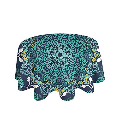Brick Vinyl Ottoman - Turkish Pattern Waterproof Anti-Wrinkle no Pollution Authentic Motifs of Ottoman Culture Round and Floral Shape Table Cloth D40 Inch Turquoise Dark Blue Yellow