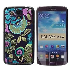 TopCaseStore / la caja del caucho duro de la cubierta de protección de la piel - Pink Floral Vintage Pattern Wallpaper - Samsung Galaxy Mega 6.3 I9200 SGH-i527