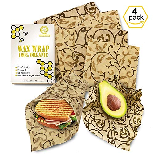 - Bee Wrap 4 Pack from Europe - Wax Wrap 2 Large 2 Medium - Wax Sandwich Wrap- Beeswax Wrap - Beeswrap Large - Reusable Food Wrap - Organic Beeswax Wrap - Reuseable Beeswax Wrap - Wax Wrap YKing