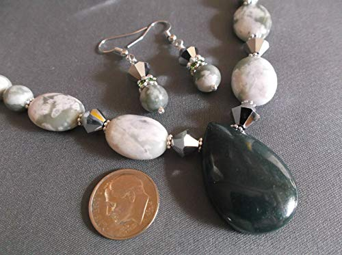 Handcrafted Artist Green Jasper Peace Jade Gemstone Pendant Necklace Earring Set DF-86
