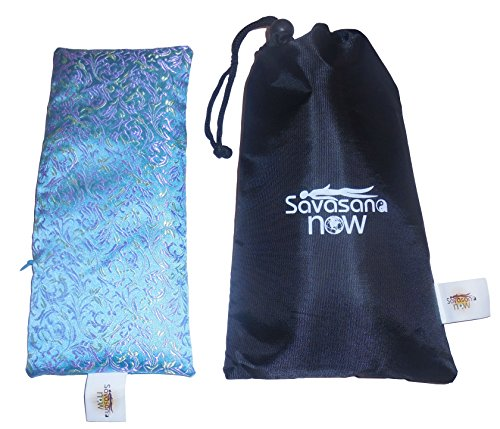 EYE PILLOW LAVENDER + Flax Seed Filled + Carry Bag. Silk Fabric - Use for Yoga, Natural Sleep Aid, Stress Relief, Anxiety Relief, Meditation, Massage Great Relaxation Gift by Savasana Now (Image #4)
