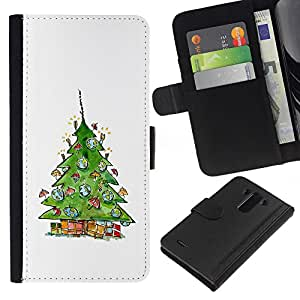 KLONGSHOP // Tirón de la caja Cartera de cuero con ranuras para tarjetas - Árbol del invierno en Santa Blanca - LG G3 //