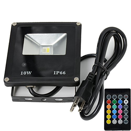CNSUNWAY 10W Waterproof RGB White Flood Light, Timing 16 Colors Security Spot light with 24 Keys Remote Control for Garden Yard Pool Pond Decoration (RGB White, 1-Pack) - Four Light Spot