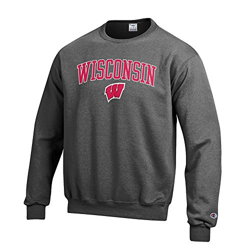 Elite Fan Shop Wisconsin Badgers Crewneck Sweatshirt Charcoal - ()