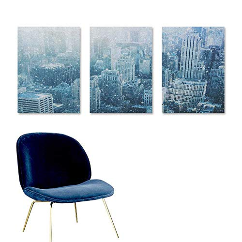 Winter Oil Painting Modern Wall Art Posters Snow in New York City Image Skyline with Urban Skyscrapers in Manhattan USA On Canvas Abstract Artwork 3 Panels 24x35inch White Pale -