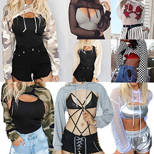 Casual Lunga Donna Autunno Tops Nero Pullover Con Outerwear Moda Cappuccio Hooded Crop Manica 1 Primavera Felpe U5qrP5