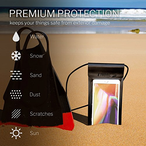 Waterproof Phone Case: Best UNIVERSAL Cellphone Dry Bag Water Proof Pouch. Clear Cover Underwater Cases Holder Bags for All Cell Phones. iPhone Plus X 8 7 6 6S & Galaxy S9 S8 S7 S6 & Google Pixel etc by E Tronic Edge (Image #1)