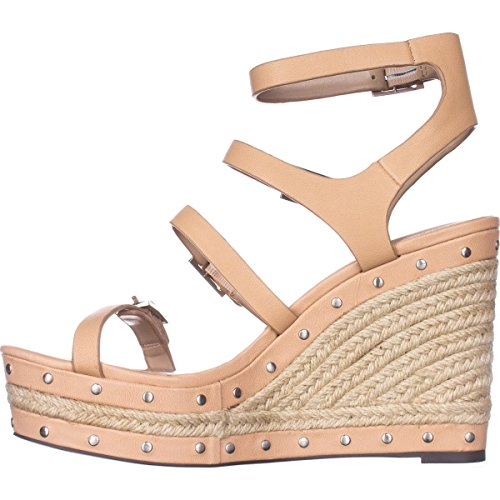 Charles David Womens Larissa Leather Open Toe Casual Espadrille, Nude, Size 5.0