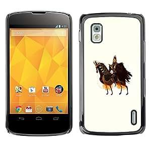 Shell-Star Arte & diseño plástico duro Fundas Cover Cubre Hard Case Cover para LG Google NEXUS 4 / Mako / E960 ( Horse Knight Warrior Art King Ancient Ruler )