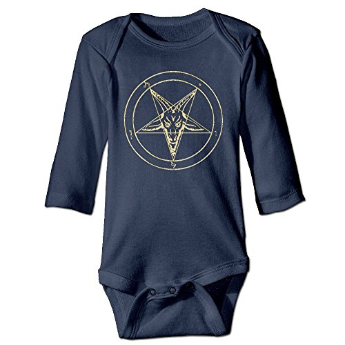 Inverted Strawberry (FLOP CEAD Newborn Gold Baphomet Inverted Pentacle Pewter Satanic Goat Head Long Sleeve Onesies Bodysuits Navy)