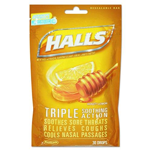 Halls Cough Drops  Honey Lemon  30 Count