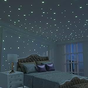 Brillante 3d estrellas pegatina de pared para dormitorio for Vinilo techo habitacion